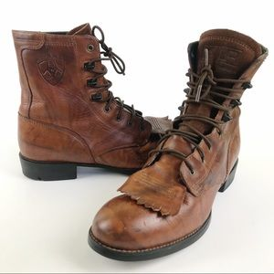 Ariat Leather Kiltie Lace Up Roper Western Boots Size 6
